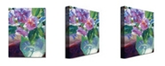 "Trademark Global David Lloyd Glover 'Pink Flowers in Green Vase' Canvas Art - 24"" x 18"""