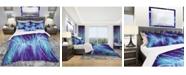 Design Art Designart 'Blue Electricity' Modern and Contemporary Duvet Cover Set - King