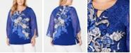 JM Collection Plus Size Embellished Split-Sleeve Top, Created for Macy's