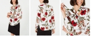 Bar III Floral-Print Tie-Neck Blouse, Created for Macy's