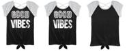 Beautees Big Girls Good Vibes Flip Sequins Tie-Front T-Shirt
