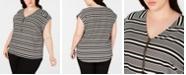 Calvin Klein Plus Size Striped V-Neck Top