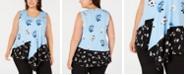 Alfani Plus Size Sleeveless Printed Draped Top, Created for Macy's