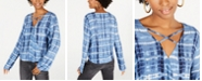 Freshman Juniors' Tie-Dyed Surplice Blouse