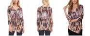 Karen Kane 3/4-Sleeve Printed Ruched Top