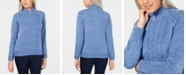 Karen Scott Petite Mock-Neck Cable-Knit Sweater, Created for Macy's