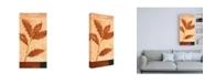 "Trademark Global Pablo Esteban Red Leaves on Beige Canvas Art - 27"" x 33.5"""
