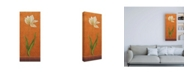 "Trademark Global Pablo Esteban Single White Flower on Orange Canvas Art - 19.5"" x 26"""