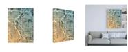 "Trademark Global Michael Tompsett Denver Colorado Street Map Teal Orange Canvas Art - 27"" x 33.5"""