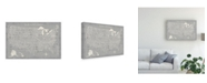 "Trademark Global Michael Mullan Hand Lettered USA Map Gray Canvas Art - 15"" x 20"""
