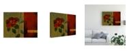 "Trademark Global Pablo Esteban Red Flower Over Dark Panels 2 Canvas Art - 19.5"" x 26"""