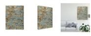 "Trademark Global Jennifer Goldberger Damask Over Gold I Canvas Art - 15"" x 20"""