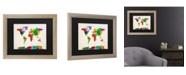 """Trademark Global Michael Tompsett Watercolor World Map II Matted Framed Art - 27"""" x 33"""""""