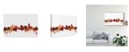 "Trademark Global Michael Tompsett Cincinnati Ohio Skyline Red Canvas Art - 20"" x 25"""