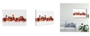 "Trademark Global Michael Tompsett Wellington New Zealand Skyline Red Canvas Art - 20"" x 25"""