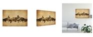 "Trademark Global Michael Tompsett Charlotte North Carolina Skyline Vintage Canvas Art - 20"" x 25"""