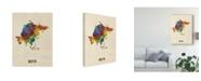 "Trademark Global Michael Tompsett Asia Continent Watercolor Map Canvas Art - 20"" x 25"""