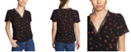 1.STATE Floral-Print Lace-Trim Top