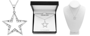 "Macy's Diamond (1/10 ct. t.w.) Star 18"" Pendant Necklace in Sterling Silver"