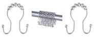 Kenney Rust-Proof Aluminum Beaded Roller Shower Curtain Double Hooks
