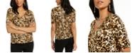 Thalia Sodi Printed Button-Sleeve V-Neck Top, Created for Macy's