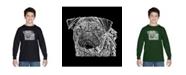 LA Pop Art Boy's Word Art Long Sleeve T-Shirt - Pug Face