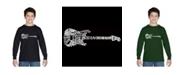 LA Pop Art Boy's Word Art Long Sleeve - Rock Guitar