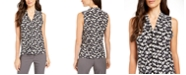 Anne Klein Printed V-Neck Sleeveless Tie Blouse