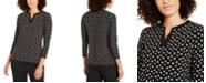 Anne Klein Dot-Print Split-Neck Top