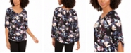 NY Collection Petite Printed Roll-Tab-Sleeve Peasant Top