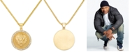 """LEGACY for MEN by Simone I. Smith Men's Crystal Lion Medallion 24"""" Pendant Necklace in Yellow Ion-Plated Stainless Steel"""