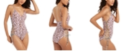 RACHEL Rachel Roy Python Printed Side-Laced One-Piece Swimsuit