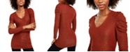 INC International Concepts INC Ruched Shine V-Neck Top, Created For Macy's