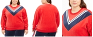 Tommy Hilfiger Plus Size Velour Varsity Chevron Sweatshirt