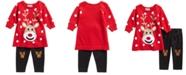 Blueberi Boulevard Baby Girls 2-Pc. Reindeer Sweater & Leggings Set