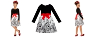 Rare Editions Big Girls Flocked Velvet Bow Dress