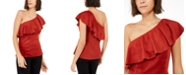 INC International Concepts INC Faux-Suede One-Shoulder Ruffled Top, Created For Macy's