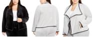 Calvin Klein Plus Size Contrast-Trim Flyaway Jacket
