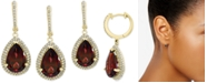 EFFY Collection EFFY® Rhodolite Garnet (7-1/3 ct. t.w.) & Diamond (1/2 ct. t.w.) Drop Earrings in 14k Gold