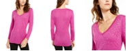 INC International Concepts INC Embellished Shine V-Neck Top, Created For Macy's
