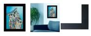 "Trendy Decor 4U Wise Guys - Owls by lisa Morales, Mixed Medium; Ready to hang Framed Print, Black Frame, 15"" x 19"""