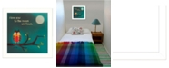 """Trendy Decor 4U To the Moon I By Marla Rae, Printed Wall Art, Ready to hang, White Frame, 14"""" x 14"""""""
