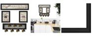 "Trendy Decor 4U Kitchen Collection VI 4-Piece Vignette with 7-Peg Mug Rack by Millwork Engineering, Black Frame, 33"" x 11"""