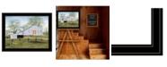 "Trendy Decor 4U Tulip Quilt Block Barn by Billy Jacobs, Ready to hang Framed Print, Black Frame, 27"" x 21"""