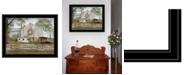 "Trendy Decor 4U American Star Quilt Block Barn by Billy Jacobs, Ready to hang Framed Print, Black Frame, 27"" x 21"""