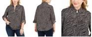 Michael Kors Plus Size Printed Zip-Front Top