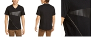 INC International Concepts INC Men's Big & Tall Zipper V-Neck T-Shirt with Faux-Leather Piecing, Created For Macy's