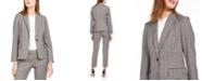 Calvin Klein Plaid One-Button Blazer
