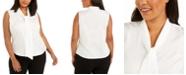 Calvin Klein Plus Size Sleeveless Printed Bow-Neck Top