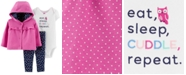 Carter's Baby Girls 3-Pc. Cotton Dot-Print Hoodie, Owl Bodysuit & Floral-Print Pants Set